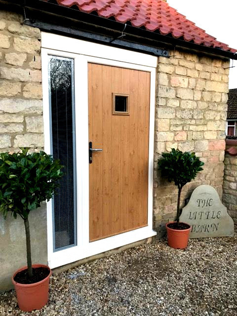 Front door of quality self catering The Little Barn at Carlby